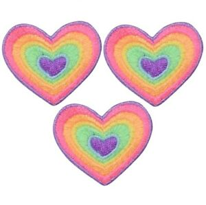 """Heart Applique Patch - Rainbow, Love Badge 1.5"""" (3-Pack, Iron on)"""
