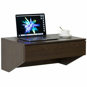 New Basicwise Wall Mounted Office Computer Desk with Drawer