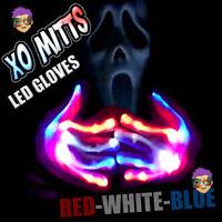 NEW! XBone XO Mitt LED Gloves RED WHITE BLUE LEDS Rave Light Up Flashing FUN!