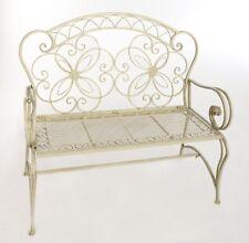 Banc De Jardin Banquette Terrasse Patio Meuble Metal Forge Blanc Elegance Ancien