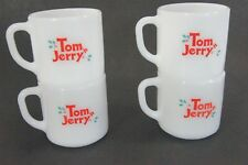 Tom n Jerry Holiday Mugs Fireking Milk Glass Set of 4 Christmas Coffee Tea Cocoa