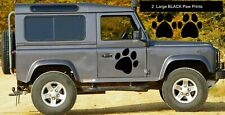 2 LARGE BLACK PAW PRINT STICKERS Car Wall Stickers Decals Graphics Cat Dog