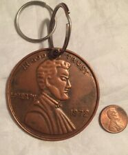 """Vintage Large 2"""" PENNY KEY RING CHAIN One Cent Lincoln 1972 Giant KeyChain"""