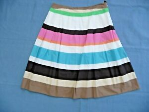 """Talbots NWT 8P Skirt 100% Cotton Lined Pleated White w/ Bright Stripes 23.5"""""""