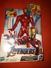 """Marvel Avengers: Endgame Repulsor Blast IRON MAN 13"""" Figure,15+ Phrases,Sound FX"""