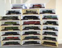 Atlas editions model trains Famous Locomotives of The World on wooden plinth