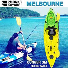 Fishing Kayak Single Sit-On 3M 5 Rod Holders Seat Paddle Melbourne Yellow Green