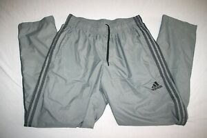 Adidas Nylon Wind Rain Track Lined Pant Men L Gray NEW