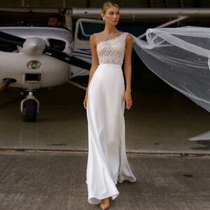 New Beach Wedding Dress Boat Neck Beaded Pearl A Line Train Bridal Gown 4 6 8 ++
