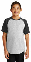 Sport-Tek Boys New Casual Short Sleeve Colorblock Raglan Jersey T-Shirt. YT201