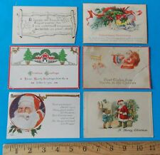 SET OF SIX VINTAGE CHRISTMAS POST CARDS! ONE-CENT AND TWO-CENT STAMPS 1914-1926
