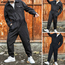 US STOCK Men's Long Sleeve Cargo Work Overalls Harem Romper Jumpsuits Trousers