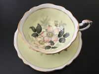 Paragon Footed Wide Cup Saucer~Full Yellow Colour~Cabbage Wild Pink Rose~Gold