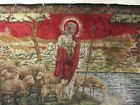 VINTAGE RELIGIOUS TAPESTRY RUG WALL HANGING JESUS & HIS FLOCK - RED