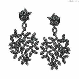Leaf Shape Special Jewelry Pave Diamond Sterling 925 Silver Handmade Earring