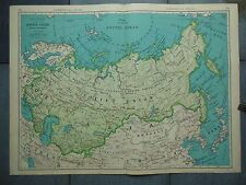 """Large Beautiful 1942 Vintage Full Color Map of Soviet Union    20 1/2"""" x 7 5/8"""""""