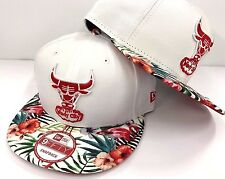 Chicago Bulls New Era 9FIFTY White Floral Flowers Tropical Snapback Hat Cap