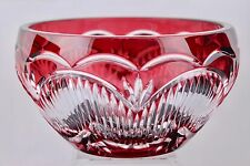BOHEMIAN CAESAR CRYSTAL RUBY RED CUT TO CLEAR BOWL/CENTERPIECE