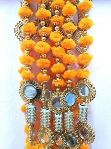 Party Pom Pom Garland, Mehndi Wedding Decorative Hanging Drops Mirror Garlands