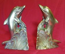 Vintage Brass Dolphin Book Ends Porpoise Fish Ocean Sea Waves Nautical