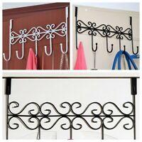 Vintage Over-The-Door Rack 5 Hooks Hanger Towel Storage Holder Hanging Coat  ^.