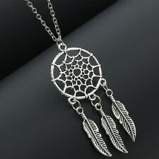 DREAM CATCHER feathers southwest silver necklace - SHIPs FROM USA