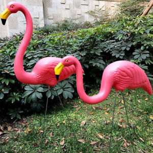 SET OF 2 GARDEN PINK FLAMINGO BIRD LAWN POND ORNAMENTS PATIO DECORATION STATUE