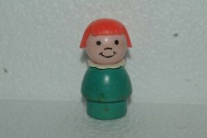 1973 Fisher Price Little People Girl Wood Base Turquoise Used Very Good Conditio