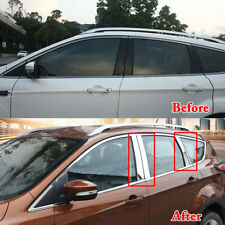 Chrome Finish Window Pillar Posts Cover Trim Molding For Ford Escape Kuga 13-18