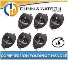 Black Compression Folding T Lock / Handle (Trailer Caravan, Toolbox) Drop T x6