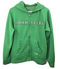 John Deere Women's M (8/10) Sweatshirt Hoodie Long Sleeve Green Full-Zip EUC