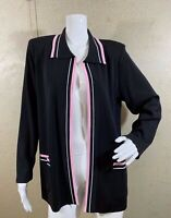 Exclusively Misook Pink Black Acrylic Career Open Front Jacket Cardigan Size S