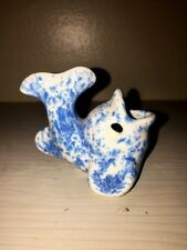 Blue Whale Dolphin Speckled Pottery Miniature Nautical Decor Vase Mouth Open