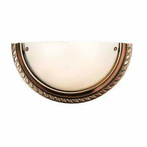 Milo Lighting Athens 1-Light Wall Light Antique Copper Effect Plate & Acid Etch
