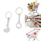2Pcs Metal Portable Shopping Trolley Carts Token Keyrings Key Chains Coin Hol^ss
