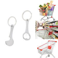 2pcs Metal Portable Shopping Trolley Carts Token Keyrings Key Chains Coin Holgu