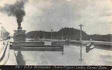 CANAL ZONE, PANAMA, USS TENNESSEE IN PEDRO MIGUEL LOCKS REAL PHOTO PC c. 1910-20