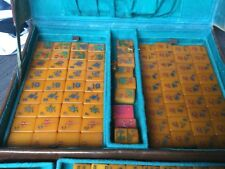 Vintage AMBER RESIN MAHJONG SET in original LEATHER CASE 154 tiles VGUC