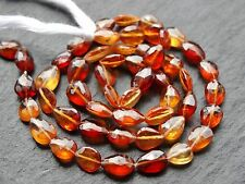"""HAND FACETED CENTRE DRILLED HESSONITE DROPS, approx 5x7mm, 14.5"""", 45 beads"""