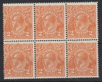 G634) Australia 1920 2d Orange KGV Single ACSC 95E wmk block of 6, fresh