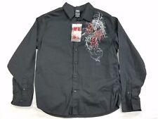 NWT MMA Elite Mens Button Down Long Sleeve Collar Casual Shirt Cotton sz L black