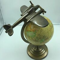 """Airplane and Globe Model """"On Top of the World"""" 15"""" Tall, 8"""" Globe Deco Art"""