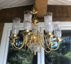 """Exquisite Brass & Crystal Cut Hurricane Shade Style Chandelier 8 Light 30"""""""