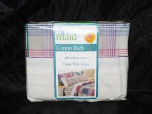 Spring Maid Scotts Plaid Twin Flat Sheet White Purple Pink Green NEW USA Made