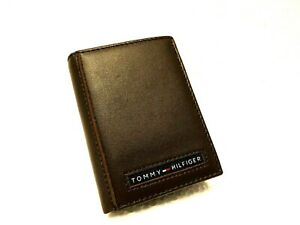 New Tommy Hilfiger Cambridge Men's Brown Leather Trifold Wallet 5676/02 GRADE A