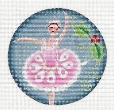 Sugar Plum Fairy Pink Ballerina handpainted Needlepoint Canvas by Rebecca Wood