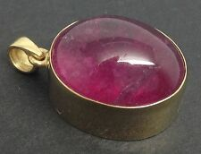 Solid 9ct gold natural Pink Tourmaline Rubellite Oval pendant, new, UK seller.