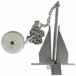Danforth Style 8.5 lb Deluxe Fluke Anchor Kit w Chain & Line for 15 - 24 boat