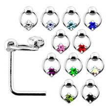 10 Pcs 22G 6mm 925 Sterling Silver Dia 4mm Square Stone Joint Nose L-Shape Stud