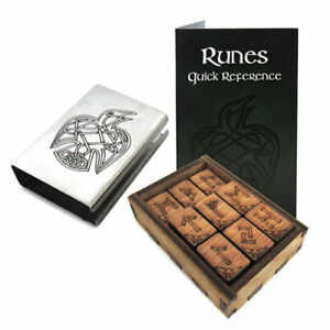 NEW Mini Travel Rune Set with Raven Engraved Box - Norse Runes Made in the US!